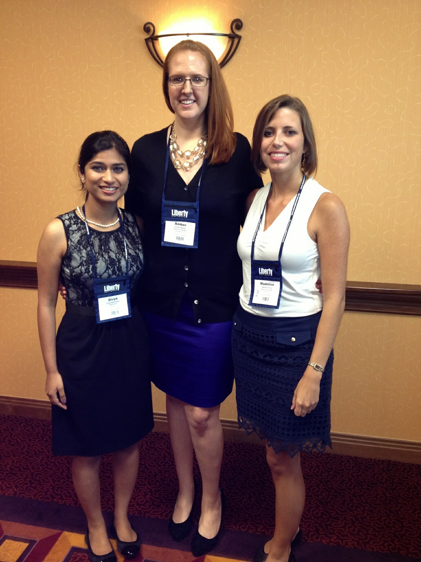 Texas A&M Health Science Center Irma Lerma Rangel College of Pharmacy state finalists Divya Manavalan of Houston, Madeline King of La Porte, Texas, and Amber Bacak of Lake Jackson, Texas, competed July 26 in the Texas Pharmacy Association Patient Counseling Competition in Frisco. Manavalan placed second in the statewide competition