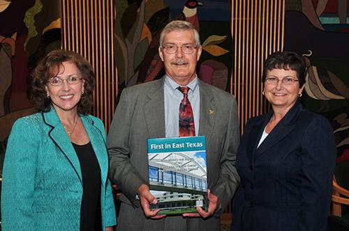 (Left to Right) Janet Helduser, M.A., James Alexander, Ph.D., Nancy Kinkler, M.P.A., FACHE