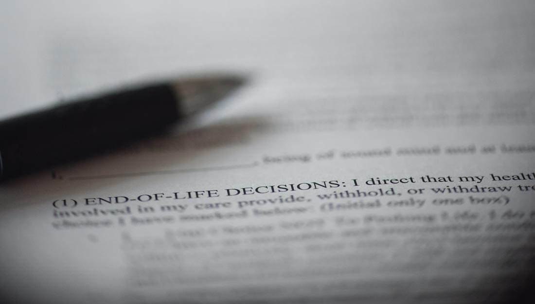 """Piece of paper with a closeup on the words """"End-of-Life decisions"""""""