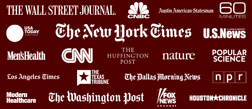 Logos for publications and news outlets who've featured the HSC