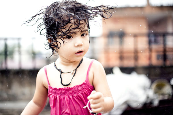 Child with wet hair