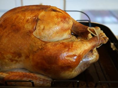 A close-up image of a cooked turkey