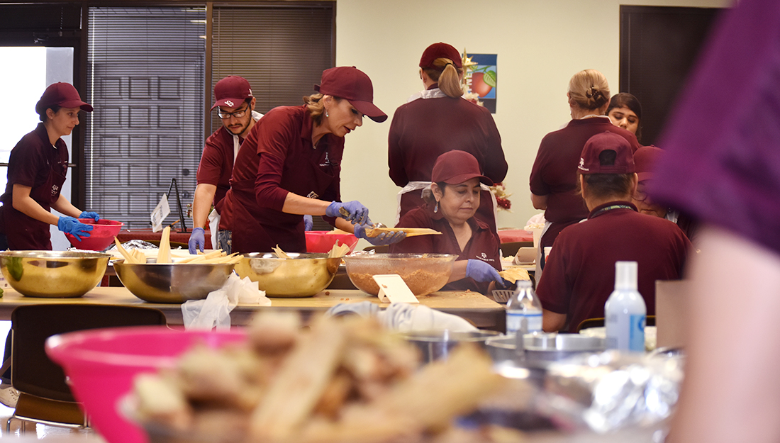 Staff prepare healthy tamales