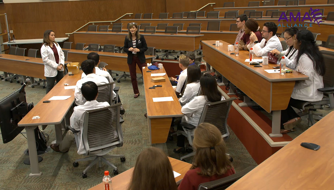 An Opioid Task Force meeting with a professor addressing students