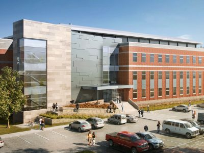 A rendering of the outside of the new Medical Research and Education Building II