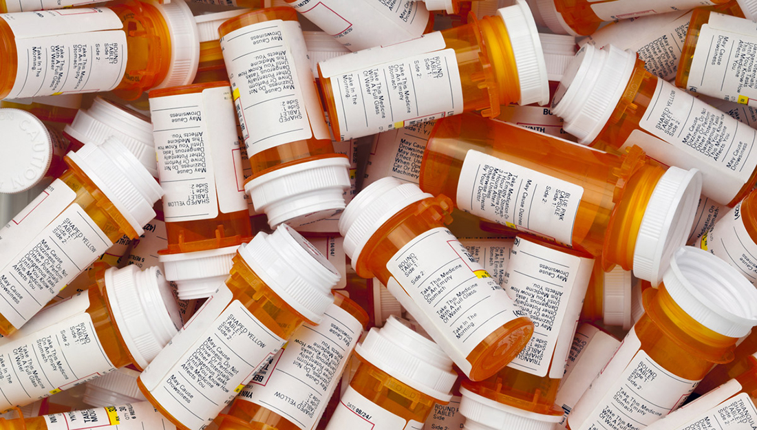 Medication recalls-empty pill bottles in a pile