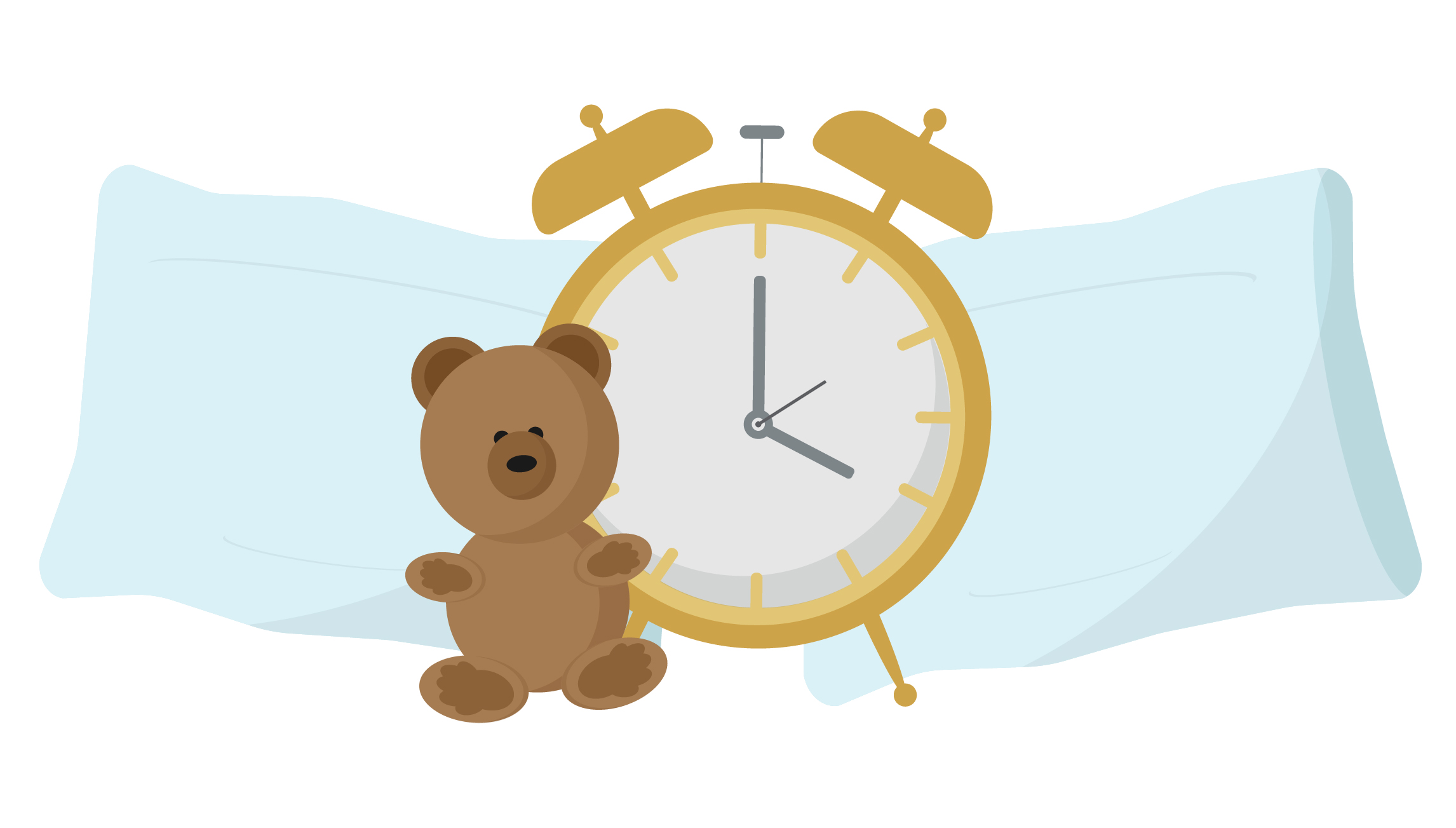 Bedtime Alarm clock pillows and teddy bear