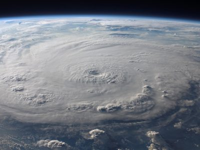 Do hurricanes cause labor? A picture from space of a hurricane on Earth