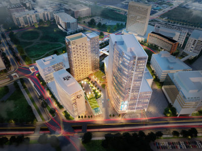 aerial rendering of new Texas A&M medical complex in Houston