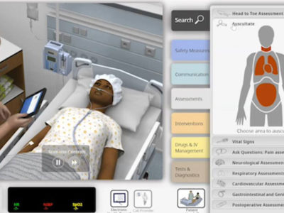 screenshot of virtual simulation for nursing students