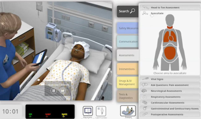 screenshot of virtual simulation for nursing students