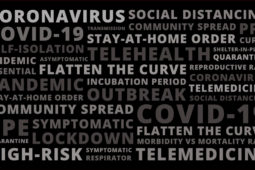 word cloud of terms related to COVID-19