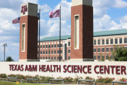 front entrance to the Texas A&M Health campus in Bryan