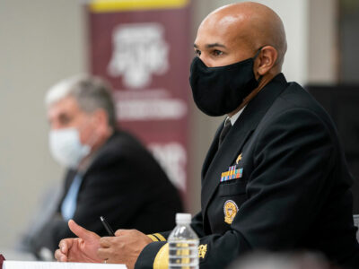 U.S. Surgeon General Gerome Adams speaks with Texas A&M leadership and students