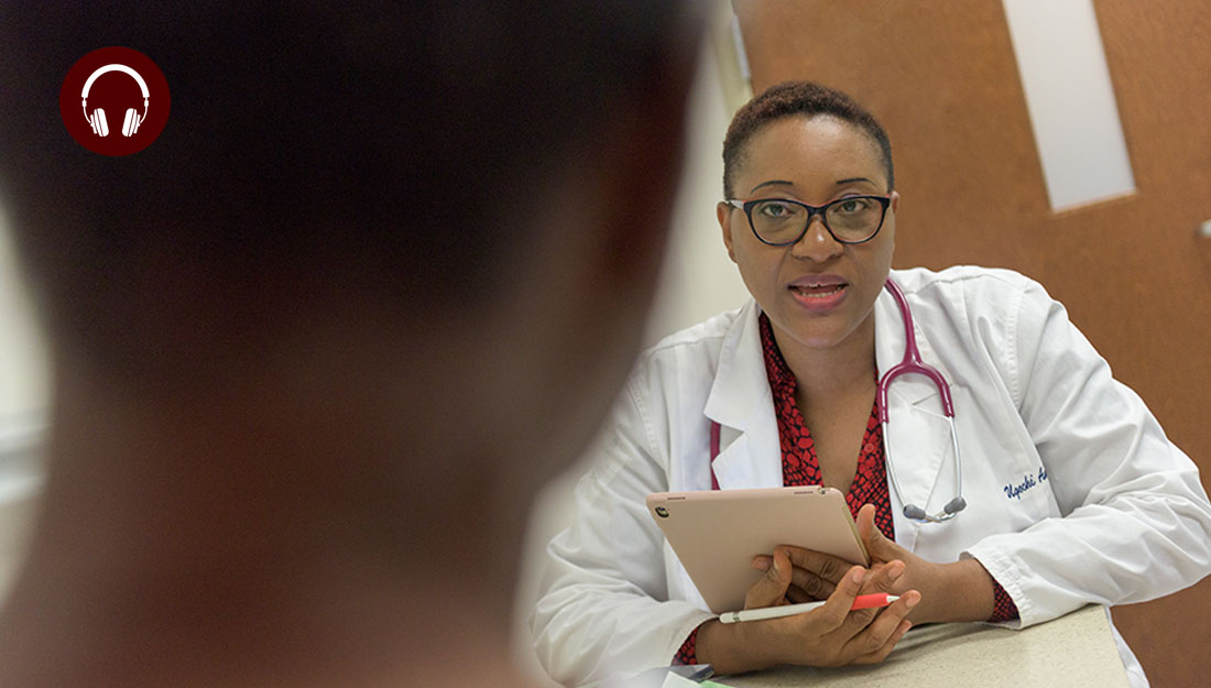 health professional sees patient in clinic setting