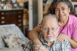 Senior Man with their Caregiver at Home.