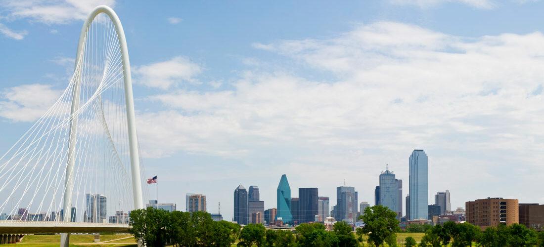 view of Margaret Hunt Hill Bridge leading to metropolitan Dallas, Texas