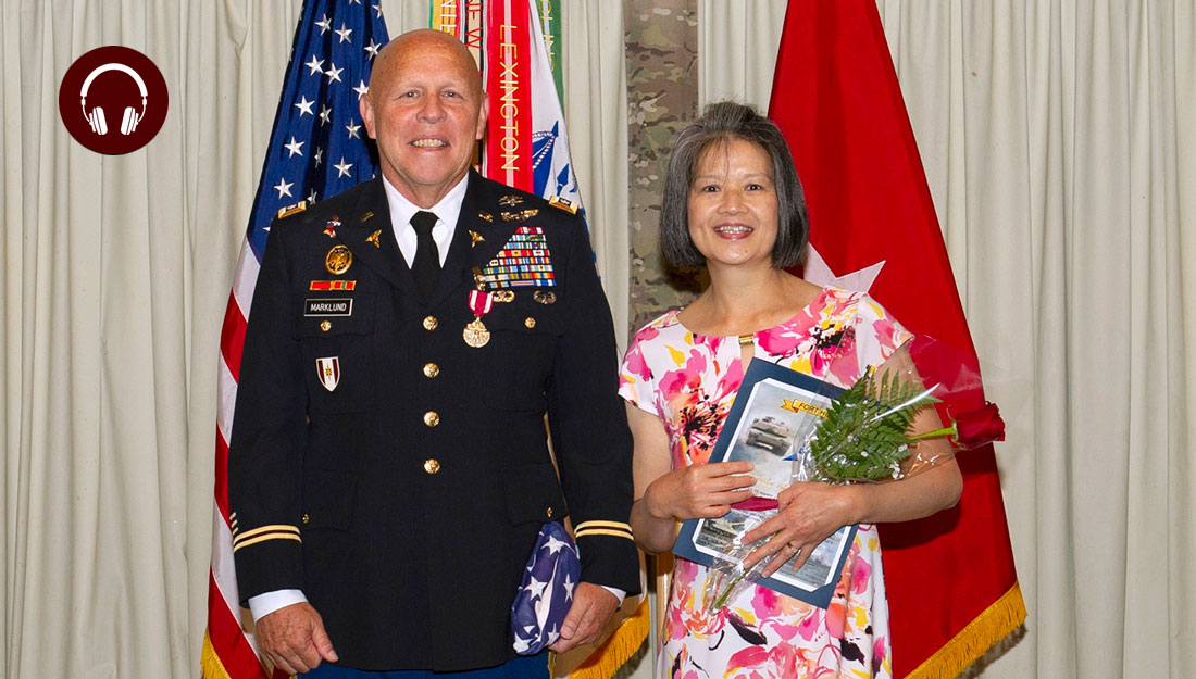 LeRoy Marklund poses with his wife, Happy, during his retirement celebration on July 2, 2018