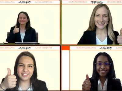 screenshot of a Zoom call with four students giving a