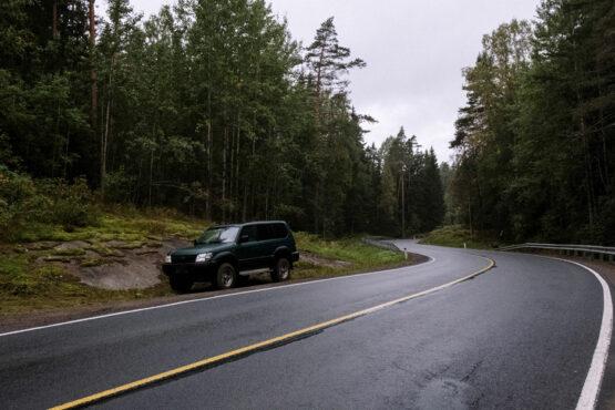 SUV parked on highway roadside