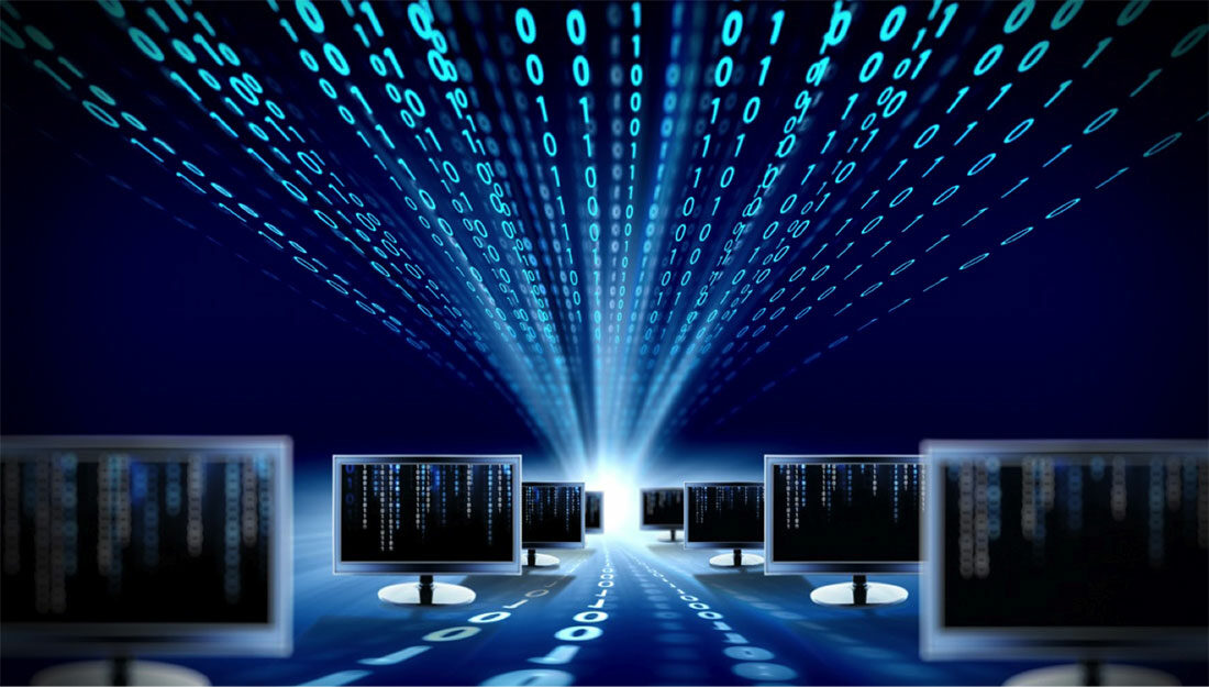 data stream on computer monitors
